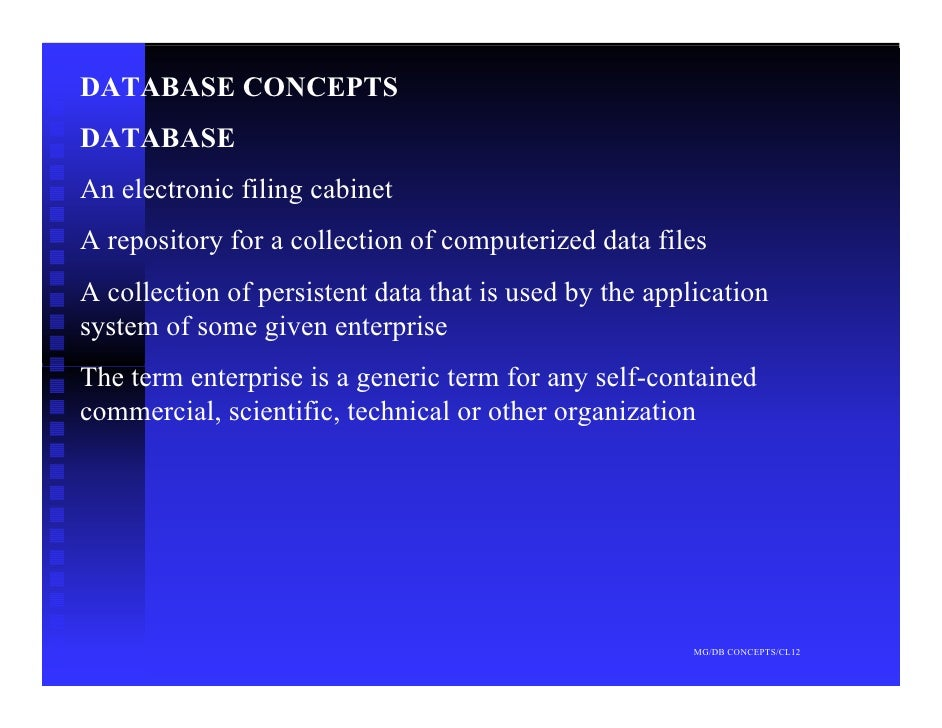 DATABASE CONCEPTS DATABASE An electronic filing cabinet A repository for a collection of computerized data files A collect...