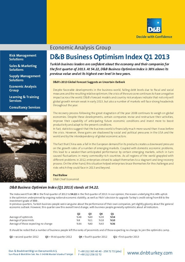 Economic Analysis Group D&B Business Optimism Index Q1 2013 Turkish business leaders are confident about the economy and t...