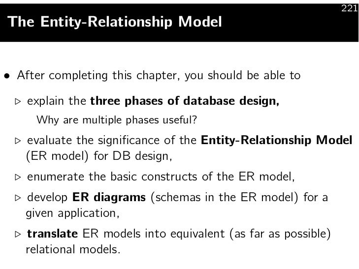 221The Entity-Relationship Model• After completing this chapter, you should be able to    explain the three phases of data...