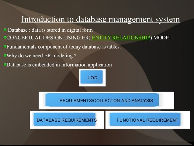 Introduction to database management system Database : data is stored in digital form. CONCEPTUAL DESIGN USING ER( ENTITY R...