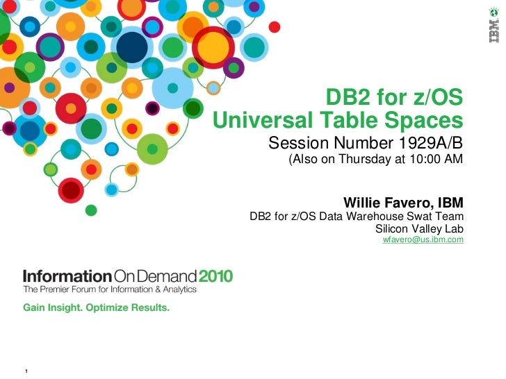 DB2 for z/OS    Universal Table Spaces          Session Number 1929A/B              (Also on Thursday at 10:00 AM         ...