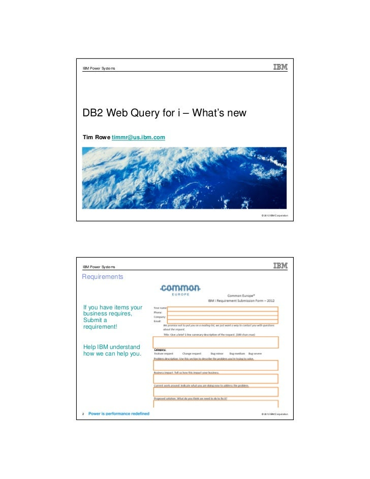 DB2 Web Query whats new