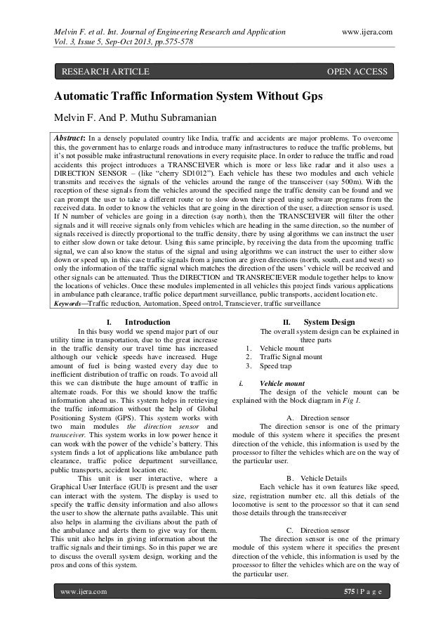 Melvin F. et al. Int. Journal of Engineering Research and Application www.ijera.com Vol. 3, Issue 5, Sep-Oct 2013, pp.575-...