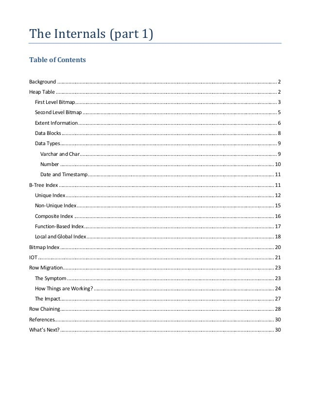 The Internals (part 1) Table of Contents Background .........................................................................