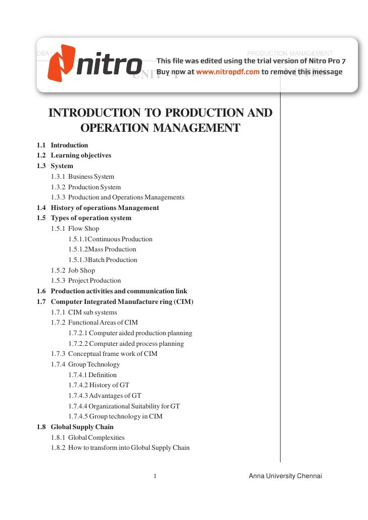 DBA 1651                                               PRODUCTION MANAGEMENT                               UNIT - I       ...
