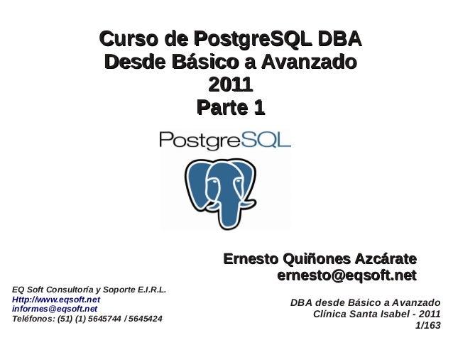 Dba PostgreSQL desde básico a avanzado parte1