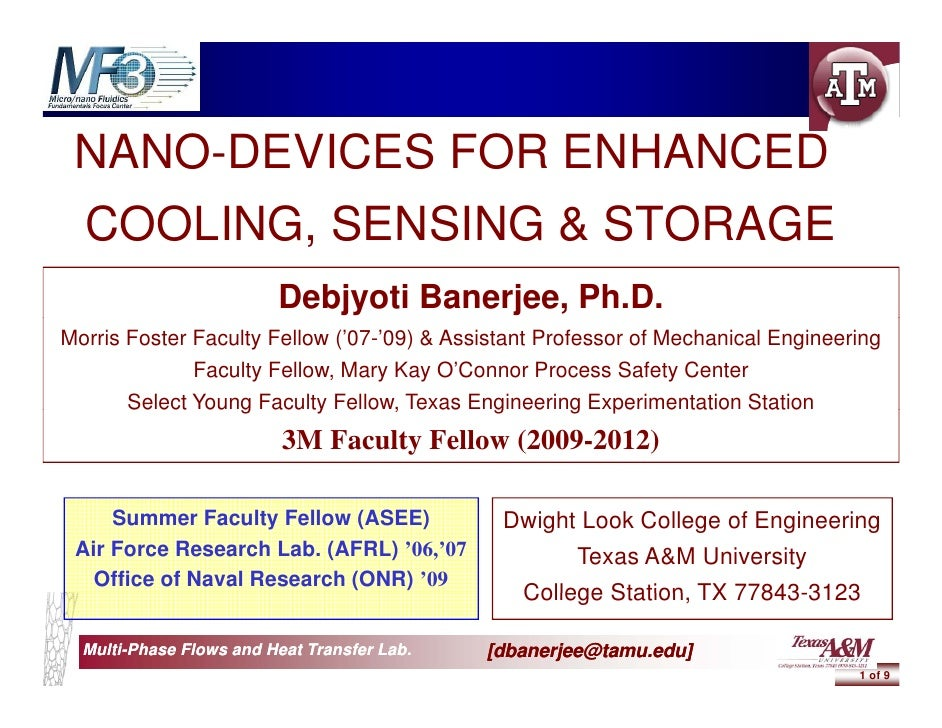 NANO-DEVICES FOR ENHANCED     O     C S O        C  COOLING,  COOLING SENSING & STORAGE                          Debjyoti ...