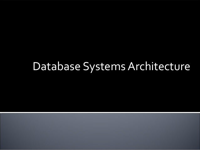 Database Systems Architecture