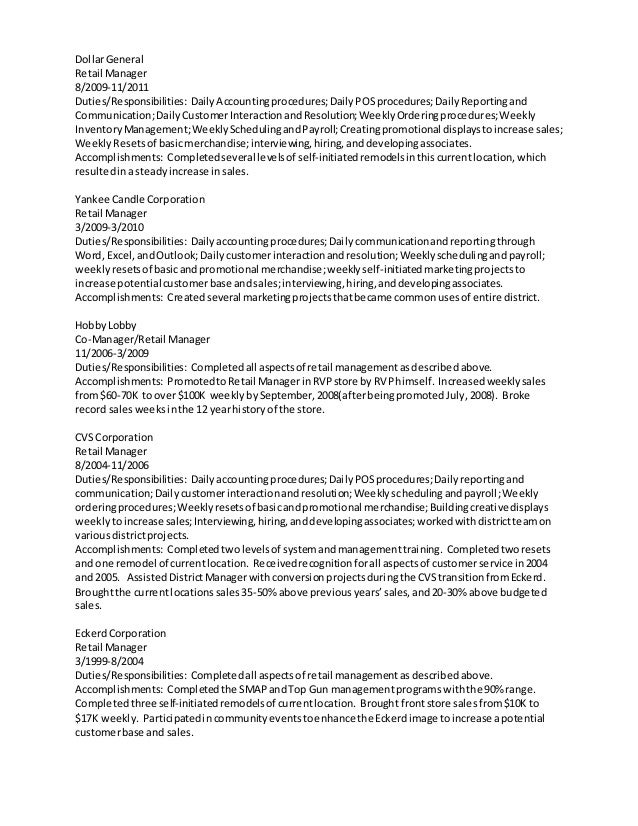 Operations And Sales Manager Resume. Best Rep Retail Sales Resume
