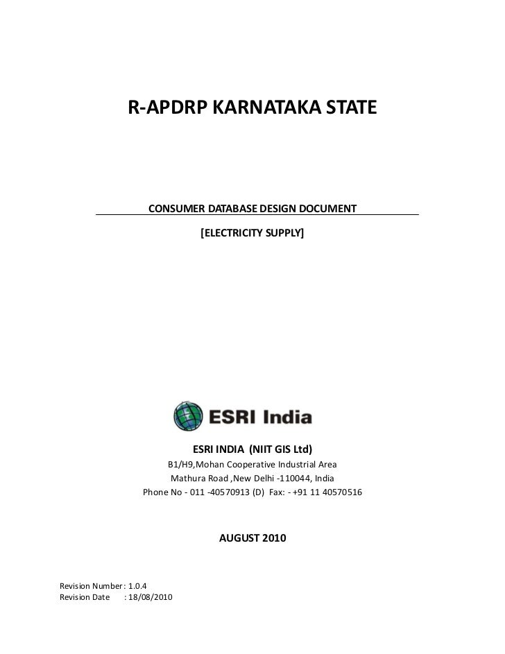 R-APDRP KARNATAKA STATE                      CONSUMER DATABASE DESIGN DOCUMENT                                 [ELECTRICIT...