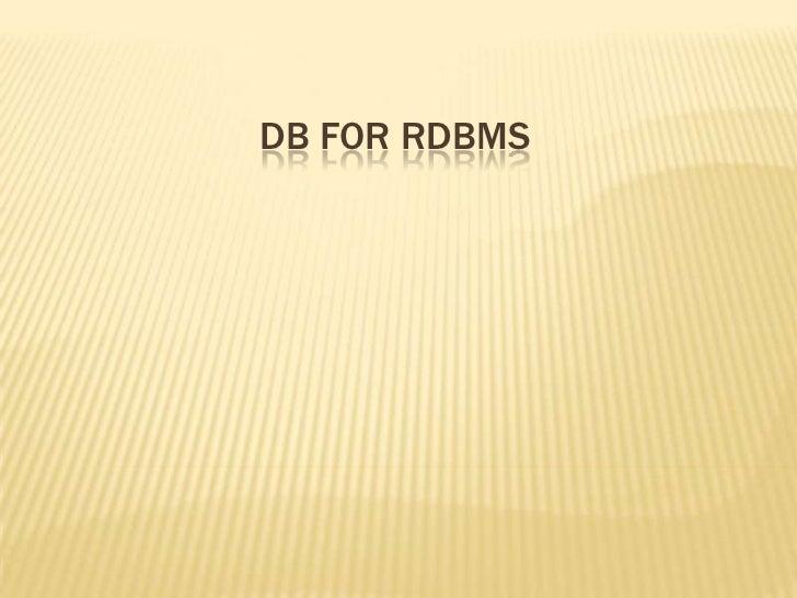 Db for rdbms