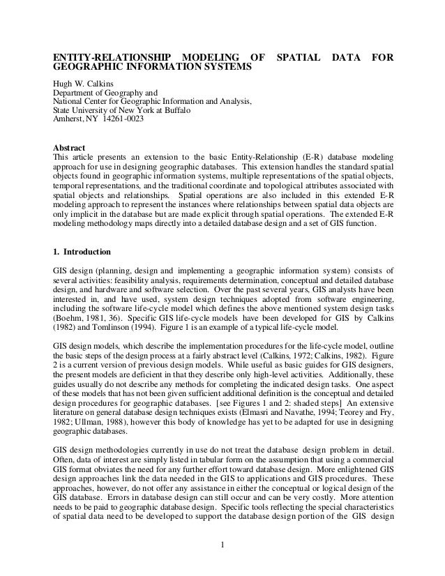 ENTITY-RELATIONSHIP MODELING OF                                    SPATIAL          DATA        FORGEOGRAPHIC INFORMATION ...