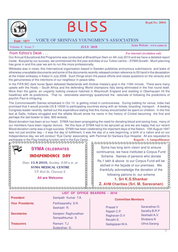 July 2010 issue of BLISS; newsletter of SYMA