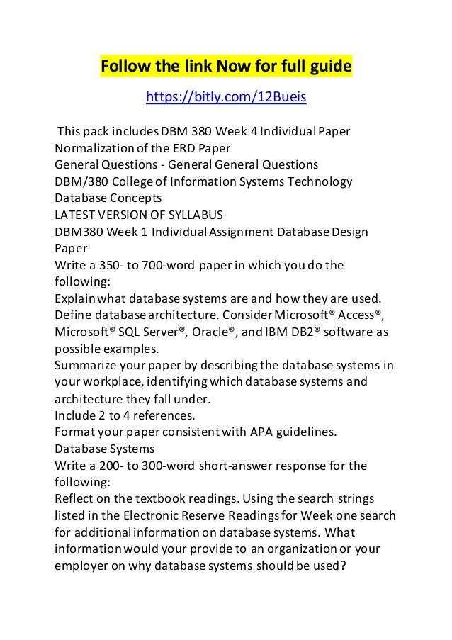 DBM/380 Week 2 Individual Assignment Database Environment Paper