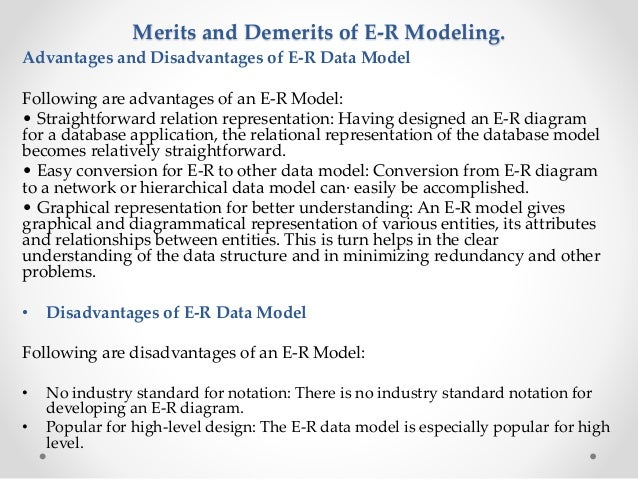 dbms mca section a   merits and demerits of e r modeling  advantages