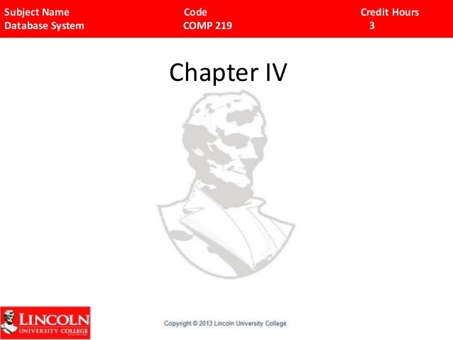 Subject Name Code Credit Hours Database System COMP 219 3 Chapter IV