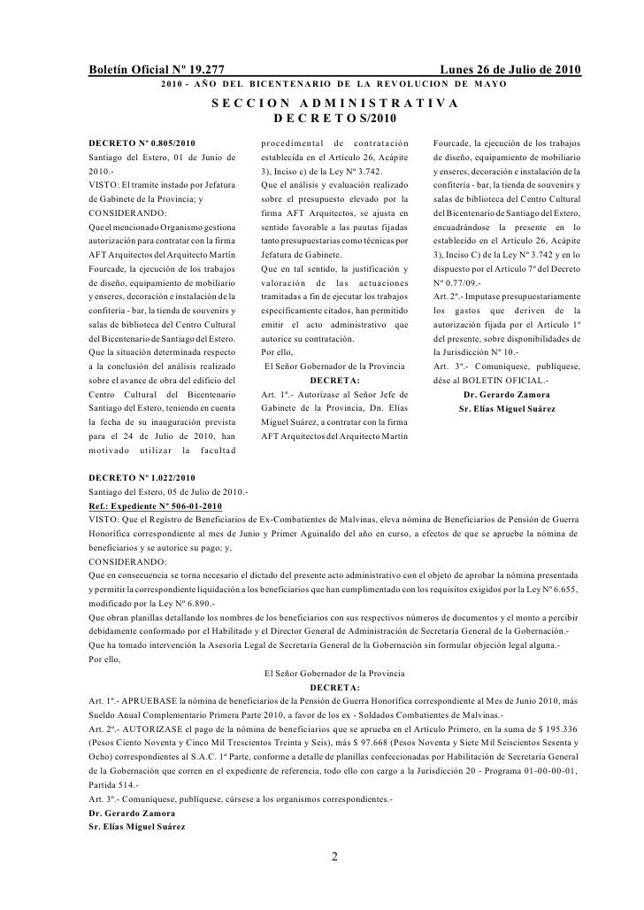 Boletín Oficial Nº 19.277                                                                     Lunes 26 de Julio de 2010   ...