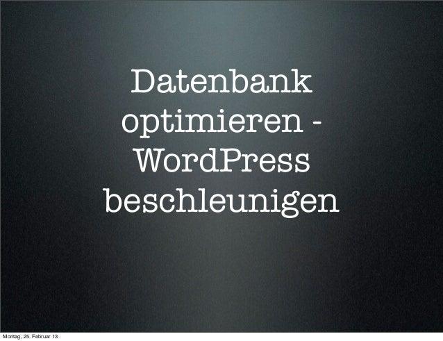 Datenbank                          optimieren -                           WordPress                         beschleunigenM...