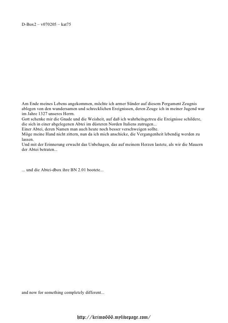 D-Box2 – v070205 – kat75Am Ende meines Lebens angekommen, möchte ich armer Sünder auf diesem Pergament Zeugnisablegen von ...