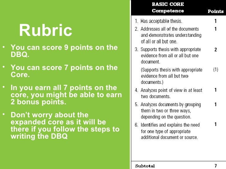 dbq essay rubrics for ap