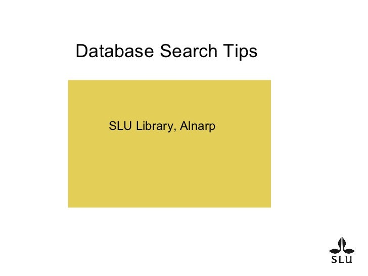 Database Search Tips