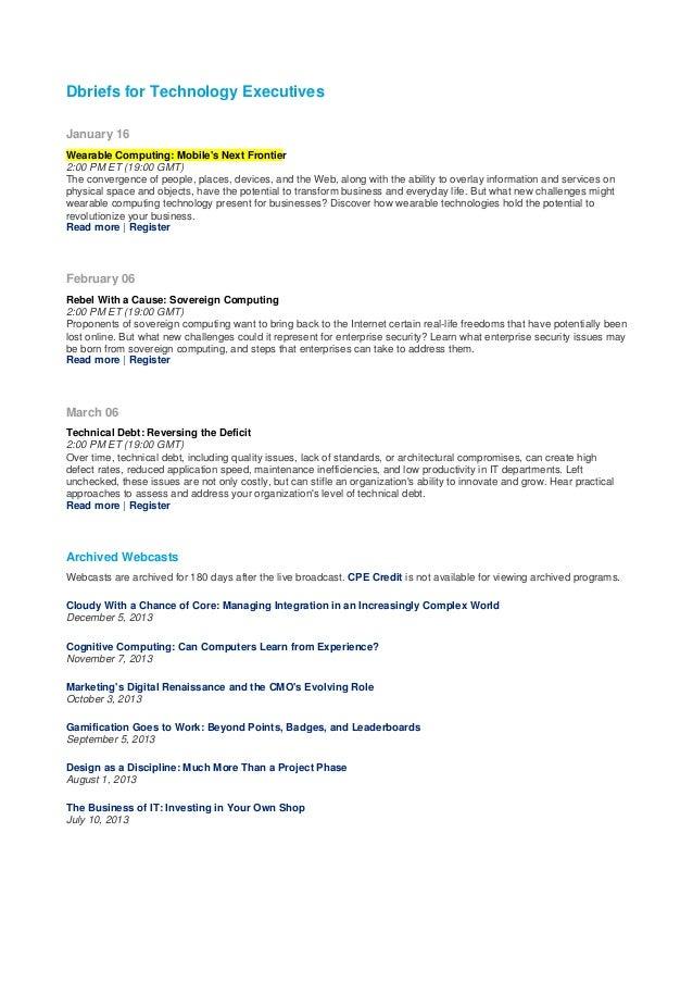 Dbriefs for Technology Executives