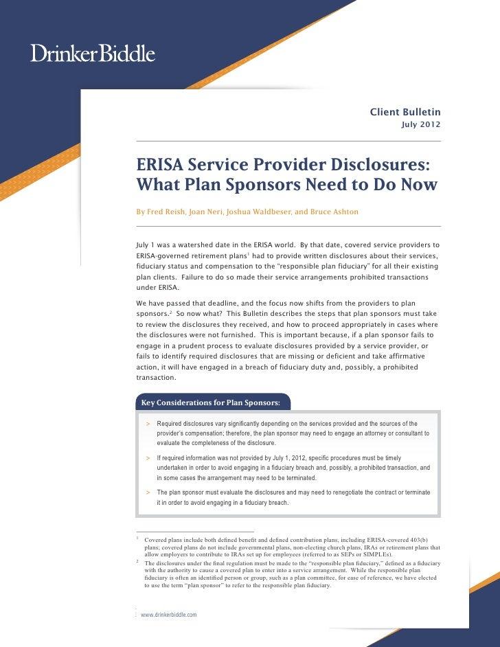 DBR July 2012 Erisa Service Provider Disclosures