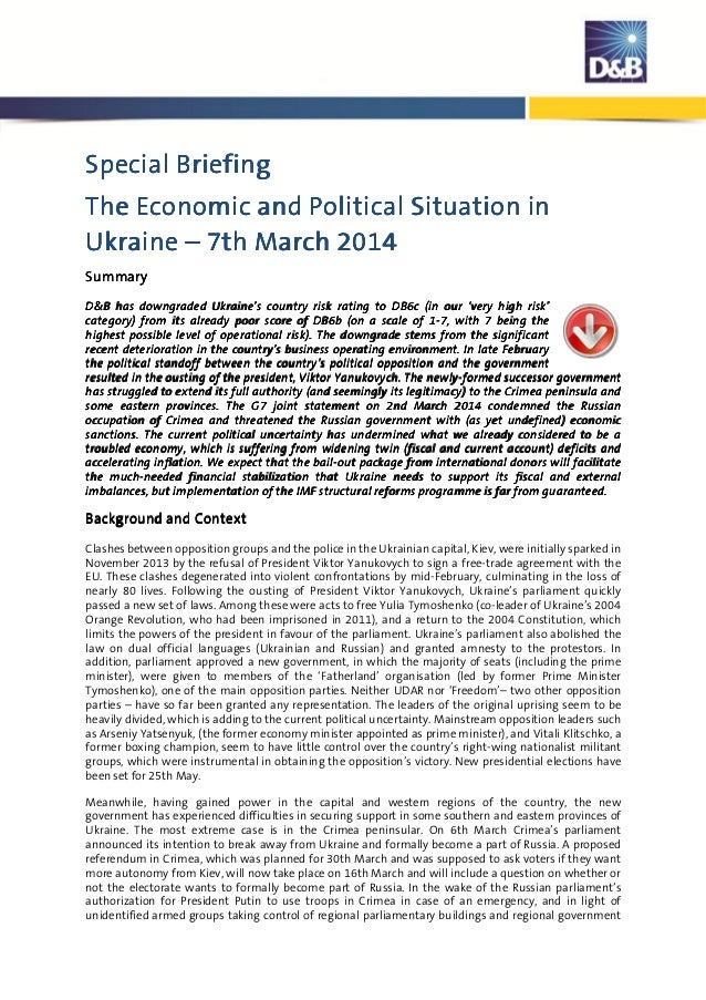 D&B Briefing: The Economic & Political Situation in the Ukraine | 3/17/14