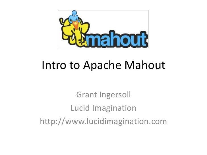 Intro to Mahout -- DC Hadoop