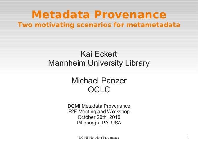 Metadata Provenance