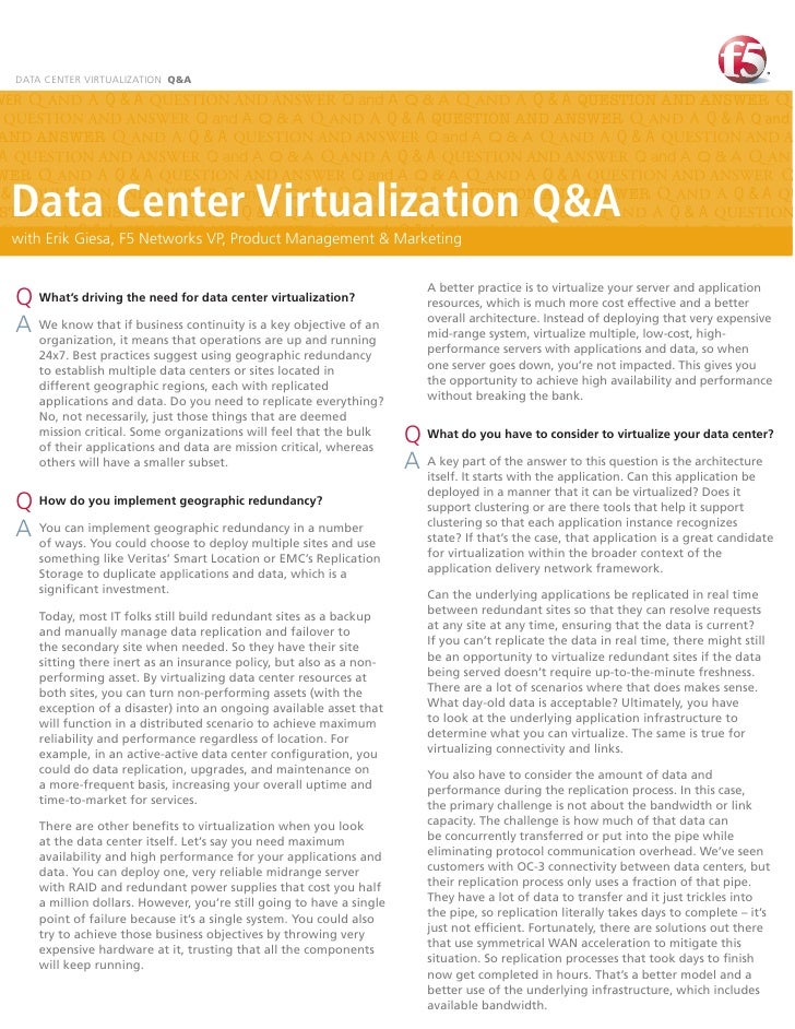 DATA CENTER VIRTUALIZATION Q&AWER Q and A Q & A QUESTION AND ANSWER Q and A Q & A Q and A Q & A QUESTION AND ANSWER Q QUES...