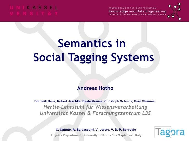 Semantics in Social Tagging Systems