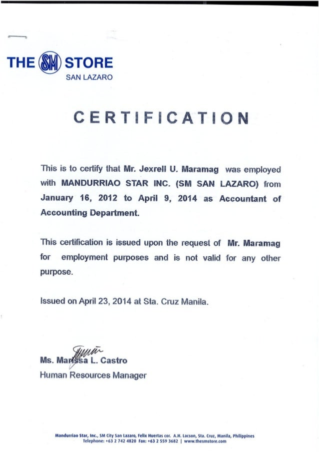 Certificate Of Employment Msi Sm Dep Store