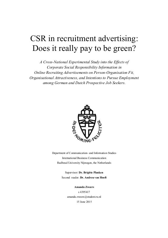 Master thesis recruitment