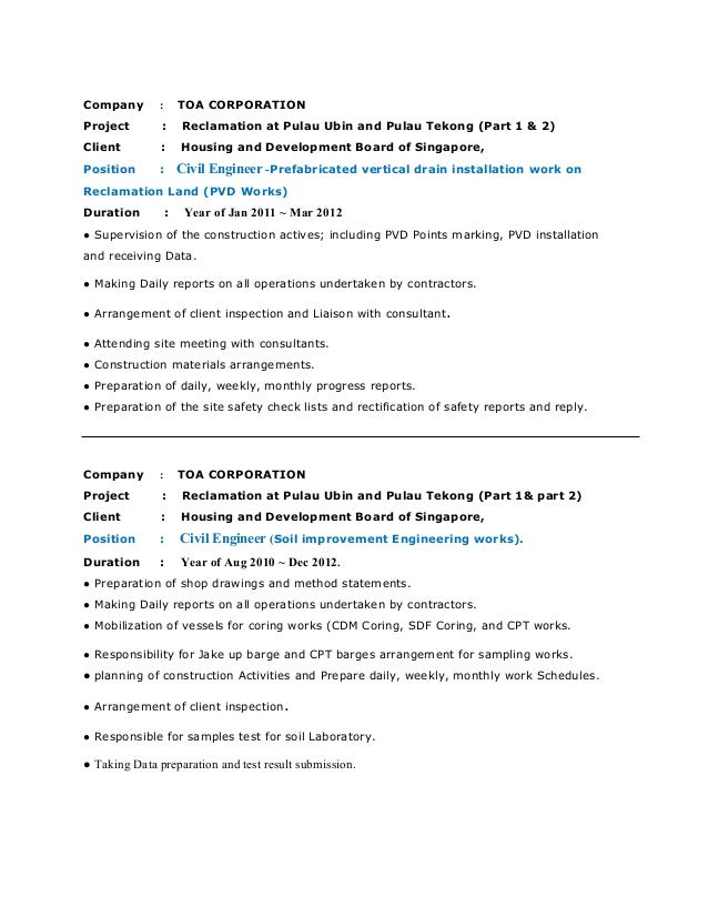 sample of making resume