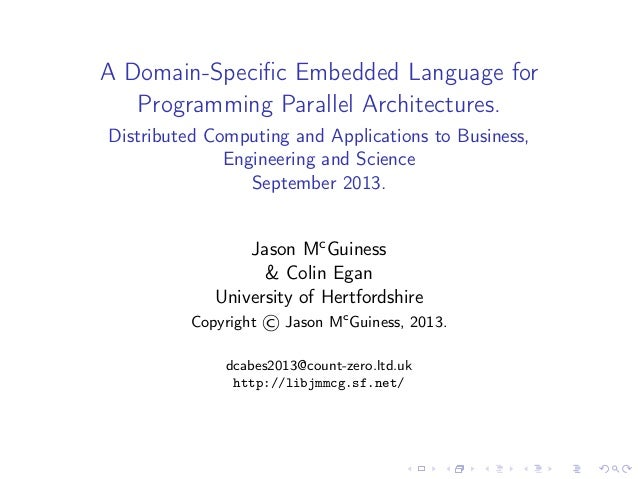 A Domain-Specific Embedded Language for Programming Parallel Architectures.