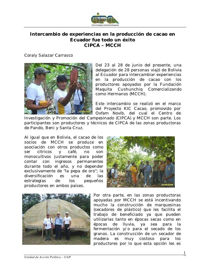 Intercambio de experiencias en la producción de cacao en                   Ecuador fue todo un éxito                      ...