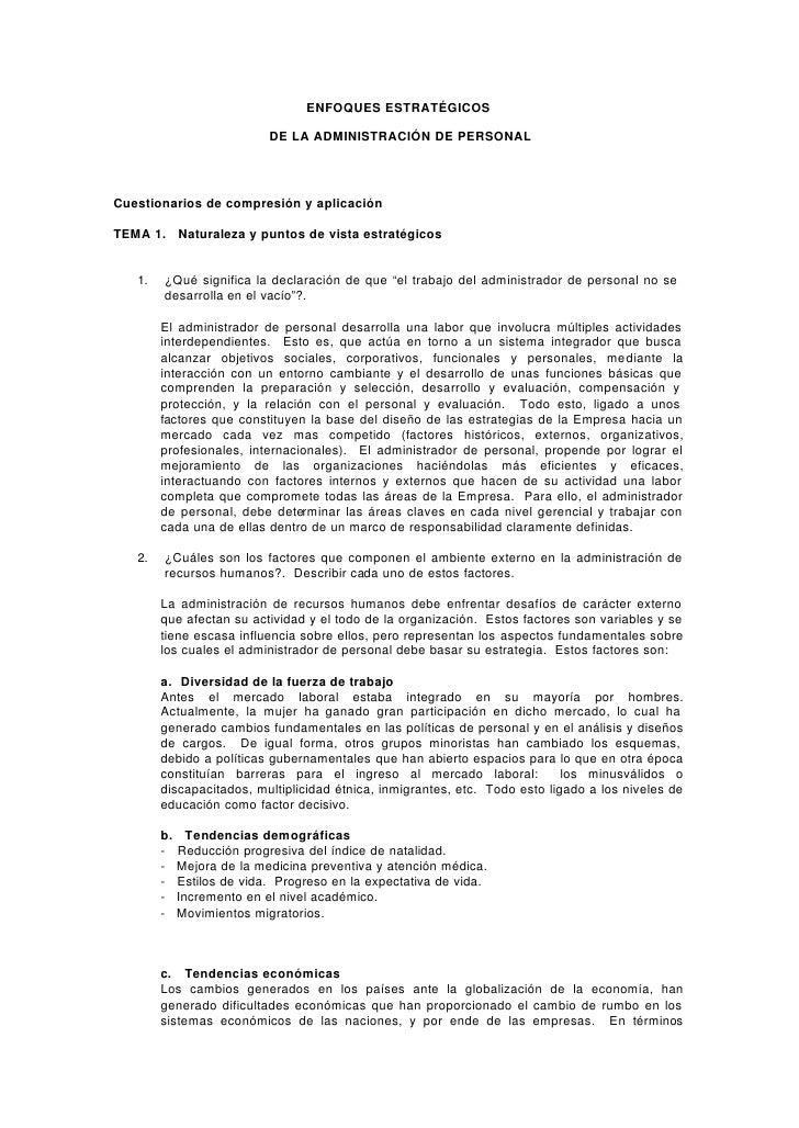 ENFOQUES ESTRATÉGICOS                              DE LA ADMINISTRACIÓN DE PERSONAL     Cuestionarios de compresión y apli...
