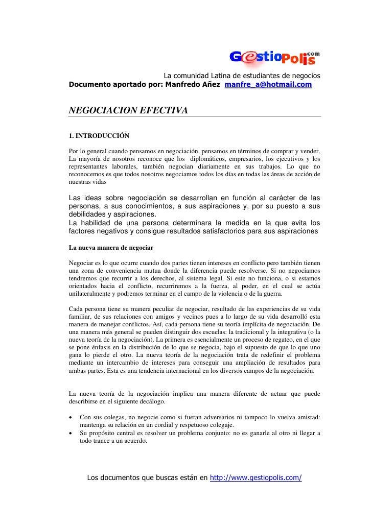 La comunidad Latina de estudiantes de negocios Documento aportado por: Manfredo Añez manfre_a@hotmail.com   NEGOCIACION EF...