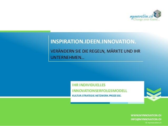 INSPIRATION.IDEEN.INNOVATION. VERÄNDERN SIE DIE REGELN, MÄRKTE UND IHR UNTERNEHMEN… IHR INDIVIDUELLES INNOVATIONSERFOLGSMO...