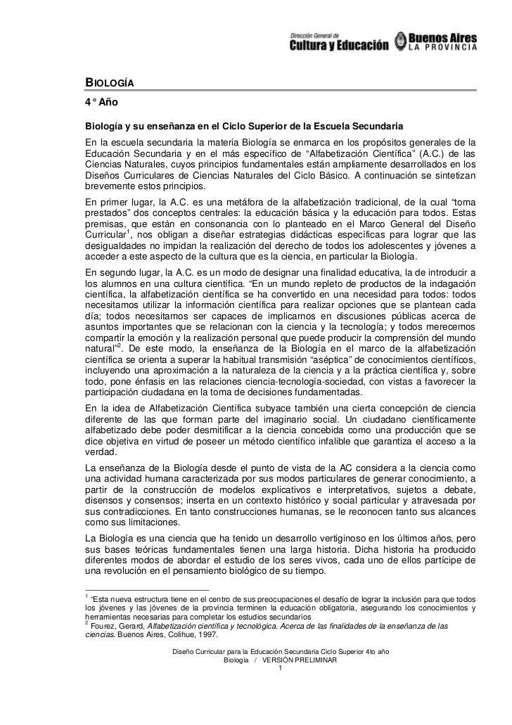 BIOLOGÍA4° AñoBiología y su enseñanza en el Ciclo Superior de la Escuela SecundariaEn la escuela secundaria la materia Bio...