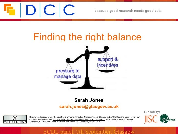 Finding the right balance Sarah Jones   [email_address]   Funded by: This work is licensed under the Creative Commons Attr...