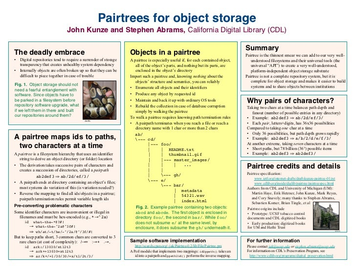 Pairtrees for object storage                               John Kunze and Stephen Abrams, California Digital Library (CDL)...