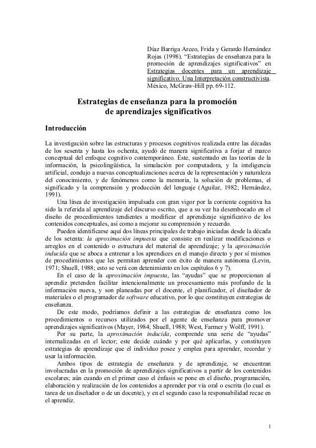 """Díaz Barriga Arceo, Frida y Gerardo Hernández Rojas (1998). """"Estrategias de enseñanza para la promoción de aprendizajes si..."""