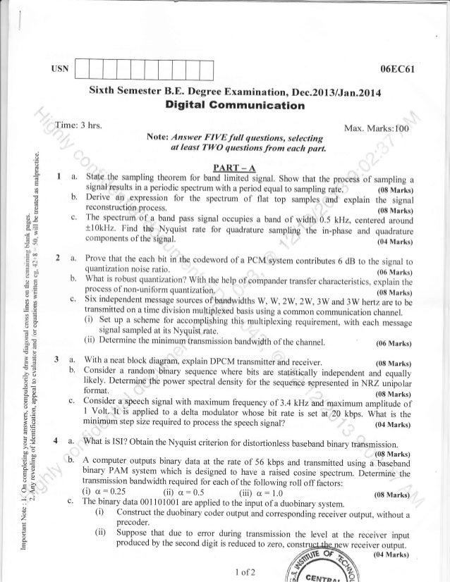 06EC6r  USN  Sixth Semester B.E. Degree Examinationo Dec.2013 lJan.2oll  Digital Gommunication  Time: 3 hrs.  Max. Marks:1...
