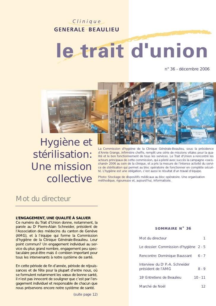 n° 36 - décembre 2006            Hygiène et                                   La Commission d'hygiène de la Clinique Génér...