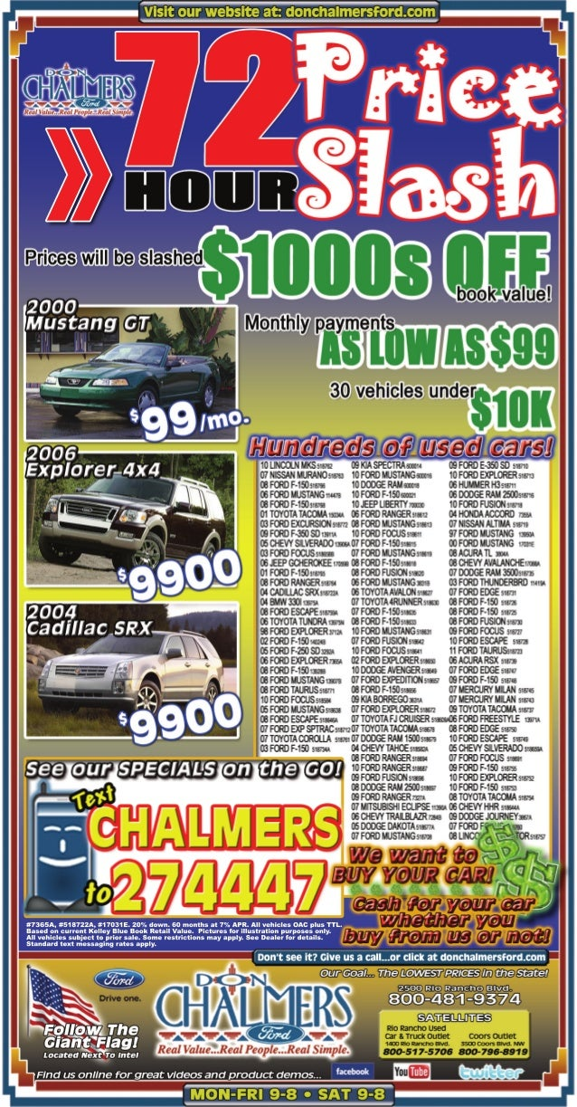 Don Chalmers Ford of Albuquerque 72 Hour Price Slash