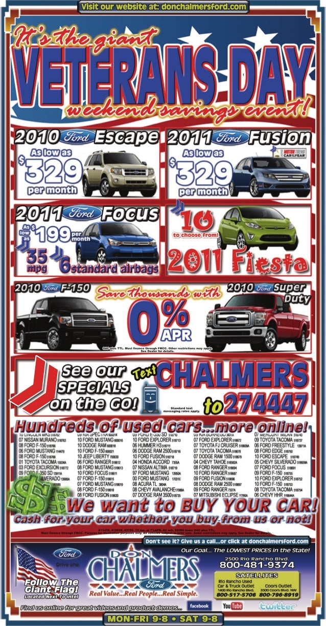 Don Chalmers Ford Giant Veterans Day Savings Event