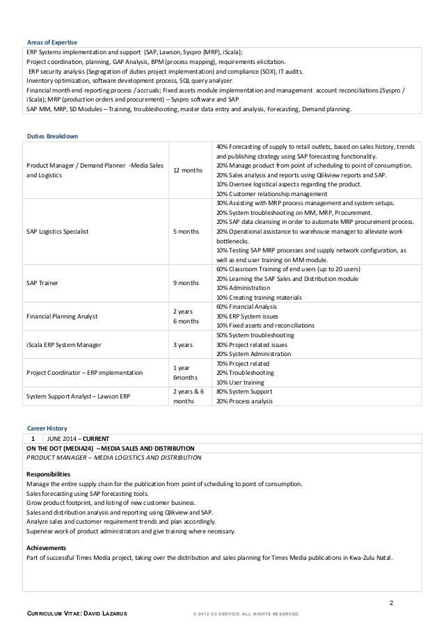resume - david lazarus 21 05 2015 - demand planner