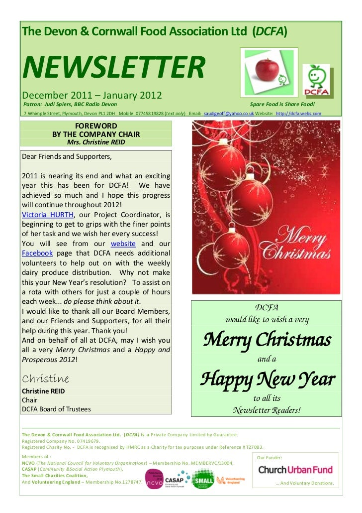 The Devon & Cornwall Food Association Ltd (DCFA)NEWSLETTERDecember 2011 – January 2012Patron: Judi Spiers, BBC Radio Devon...
